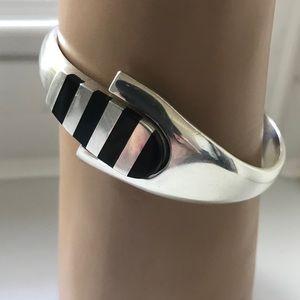 VINTAGE 925 Mexico — Classic Silver Onyx Bracelet